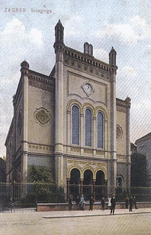 Zagreb Synagogue - Zagreb Synagogue on a 1906 postcard