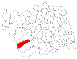 Location of Slănic-Moldova in Bacău County