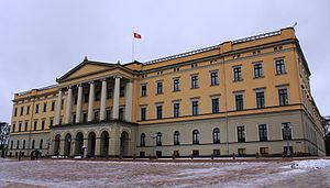 Royal Standard of Norway - The Royal Standard flying over the Royal Palace in Oslo