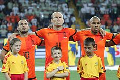 Sneijder, Robben and de Jong Netherlands-Germany Euro 2012.JPG