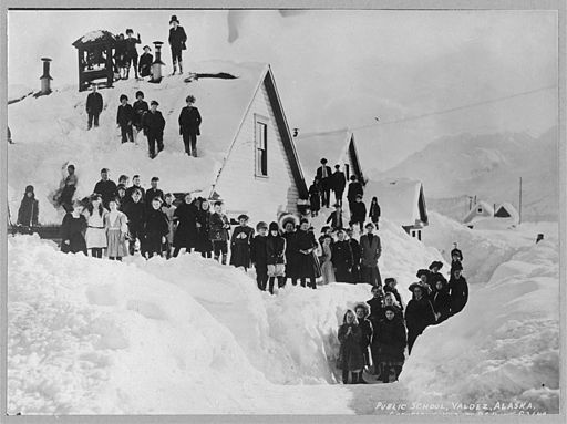 Snowed-in public school, Valdez, Alaska, 1910