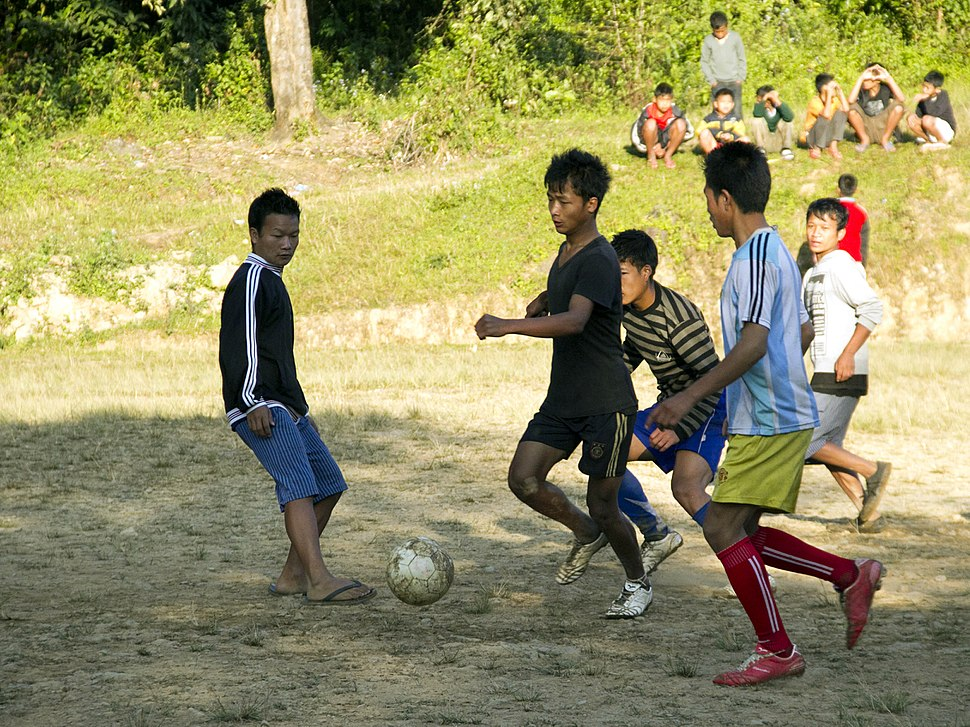 Soccer football informal in Manipur India cropped