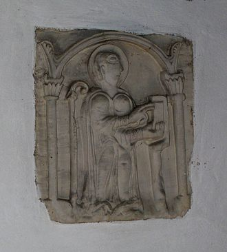 Church of St Mary the Blessed Virgin, Sompting - Ancient carving of an abbot in the south transept