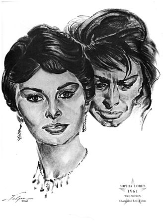 Sophia Loren - Drawing of Loren by Nicholas Volpe after she won an Oscar for Two Women (1961)