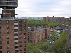 Apartment buildings in Soundview with the Midtown Manhattan skyline in the background
