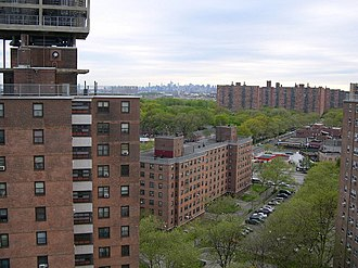 Soundview, Bronx - Apartment buildings in Soundview with the Midtown Manhattan skyline in the background
