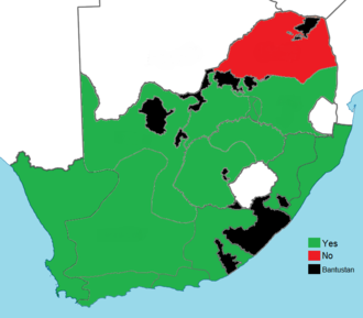 South African apartheid referendum, 1992 - Image: South African apartheid referendum result by region, 1992
