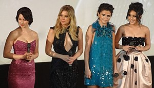 Spring Breakers - A part of the main cast at the film's premiere in Paris in February 2013: Rachel Korine, Ashley Benson, Selena Gomez and Vanessa Hudgens