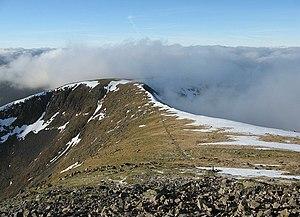 Stob Ghabhar - The view along the ridge, towards Sròn a' Ghearrain