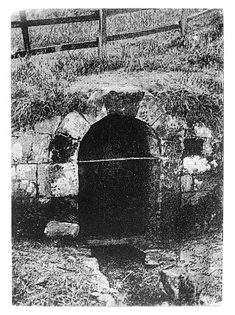 Oswestry - St Oswald's Well, believed to cure eye trouble. Image from Hope's book on Holy Wells.