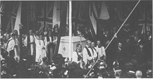 St. George's Cathedral, Cape Town - The laying of the foundation stone in 1901. On the right are the Duke and Duchess of Cornwall and York (later to become King George V and Queen Mary).