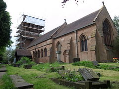 St Giles, Sheldon, church undergoing tower repairs.JPG