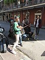 St Peter and Royal Street New Orleans 28th Jan 2019 Eight Dice Cloth Band Violinist.jpg