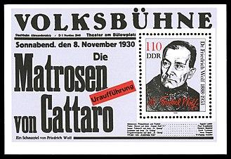 Friedrich Wolf (writer) - DDR stamp of Wolf, 1988