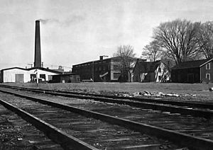 Cobourg Car Works - By 1948 all that remained operational was the foundry, seen in the upper left. The tracks of the Cobourg and Peterborough Railway run through the image.
