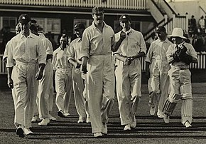 A group of cricketers coming onto the field