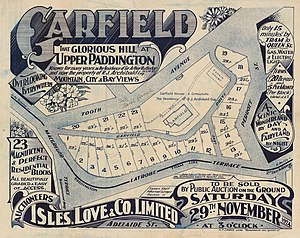Paddington, Queensland - Real estate map of the Garfield Estate, 1924