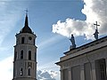 Statues looking towards the Cathedral tower, Vilnius (4956973868).jpg