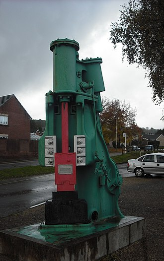 Panteg - A steam hammer from Panteg steelworks is preserved outside the Griffithstown railway museum