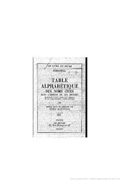 File:Stendhal - Table alphabétique des noms cités, III, 1937, éd. Martineau.djvu