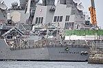 Stern of USS Curtis Wilbur (DDG-54) left rear view at U.S. Fleet Activities Yokosuka April 30, 2018.jpg