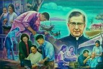 "Opus Dei - Escrivá surrounded by working people, in a Filipino painting entitled, Magpakabanal sa Gawain or ""Be holy through your work""."