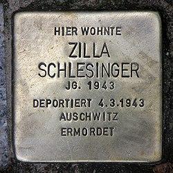 Photo of Zilla Schlesinger brass plaque
