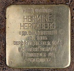 Photo of Hermine Hertzberg brass plaque