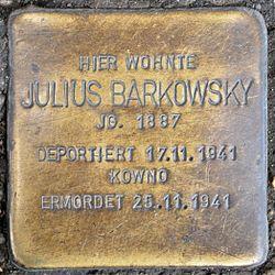 Photo of Julius Barkowsky brass plaque