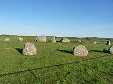 Photo of the stone circle in evening sunlight