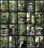 Steinlaternen im japanischen Teil des Monte Palace Tropical Garden auf Madeira