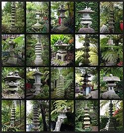 Stone lanterns in Monte Palace Tropical Garden on Madeira