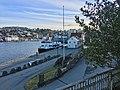 "Stord harbour (hamn) in Leirvik, Stord, Norway. MS ""Tranen"" (ship, 2006, Nordled catamaran ferry) at Nattrutekaien. 2018-03-10 b.jpg"