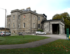 Stover, Teigngrace - West front of Stover House, showing the porte-cochere of c.1830 on the right
