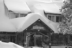 Strawberry Lodge after a winter storm, facing U.S. Route 50