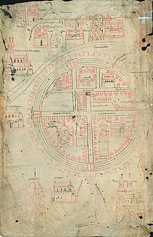 A 14th century diagram of Jerusalem in a round shape