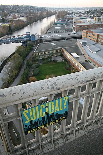 Suicide bridge - Suicide hotline on the George Washington Memorial Bridge, Seattle, Washington.