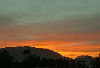 Shiraz - Sunset in Shiraz, with Mount Derak in the background