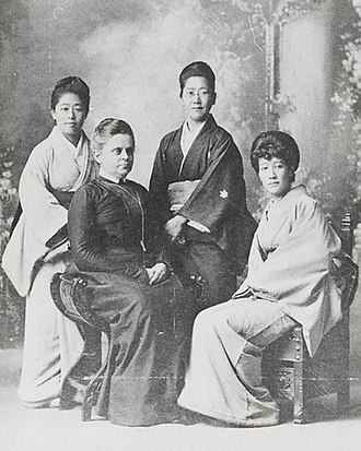 Tsuda Umeko - Friends meet again: Tsuda Umeko, Alice Mabel Bacon, Uryū Shigeko, Ōyama Sutematsu (from left to right)