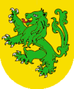 Battle of Blore Heath - Arms of John Sutton, 1st Baron Dudley  Blazon:  or, a lion rampant queue forché vert