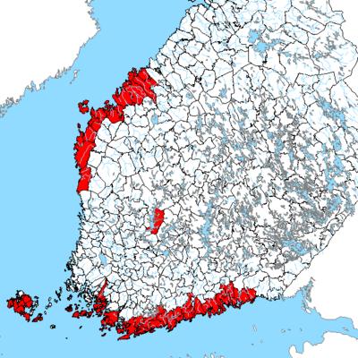 Kommuner i Finland med mer än 450 personer bosatta som har svenska som modersmål