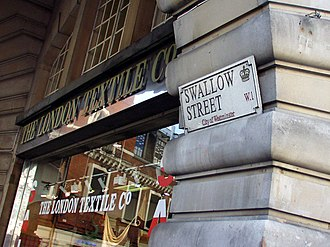 Swallow Street - Swallow Street's junction with Piccadilly