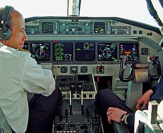 Cockpit - Swiss HB-IZX Saab 2000 during flight