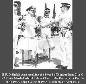 Shahid Aziz - Image: Sword of Honour Winners PMA Kakul BSUO Shahid Aziz 44 PMA Long Course April 17 1971