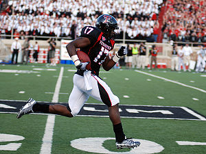 2009 Texas Tech Red Raiders football team - Detron Lewis running for a 49-yard touchdown during the North Dakota game