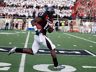 2009 Texas Tech Red Raiders football team - Detron Lewis running for a 49-yard touchdown during the North Dakota game