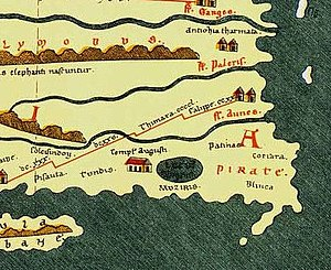 History of Kerala - Muziris in the Tabula Peutingeriana, an itinerarium showing the road network in the Roman Empire.