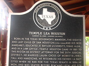 Panhandle, Texas - Temple Lea Houston historical marker at Square House Museum