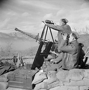 46th Infantry Division (United Kingdom) - 40mm Bofors gun of 579 Battery, 115th Light Anti-Aircraft Regiment, 46th Division, 7 January 1944.