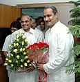 The Chief Minister of Andhra Pradesh, Dr. Y.S. Rajasekhara Reddy calls on the Union Minister for Health & Family Welfare, Dr. Anbumani Ramadoss, in New Delhi on May 19, 2006.jpg